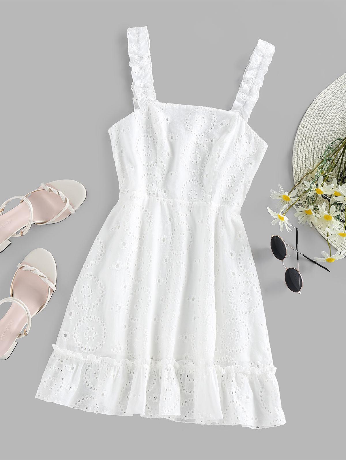 ZAFUL Ruffle Embroidered Mini Dress