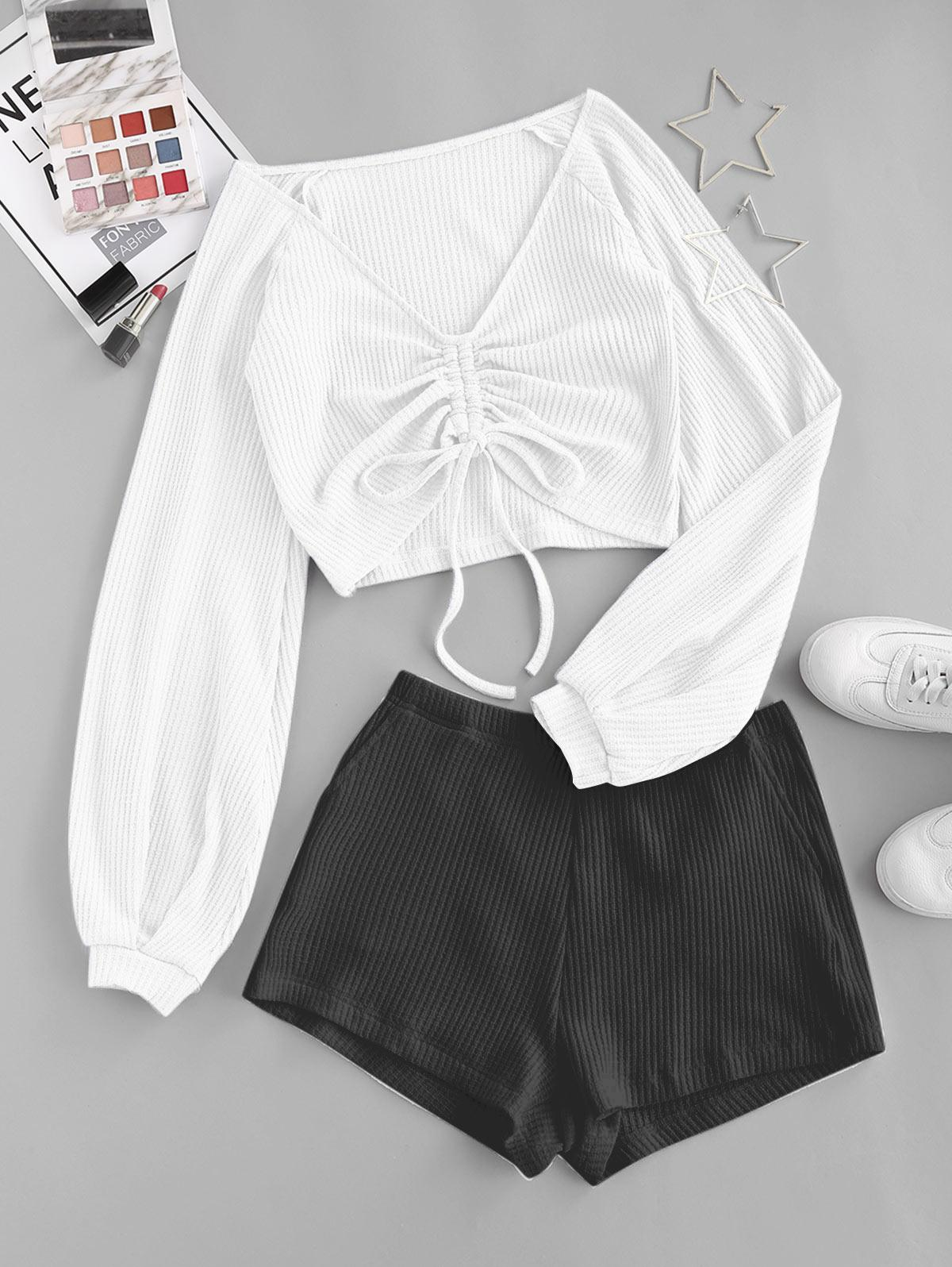 Colorblock Textured Cinched Raglan Sleeve Pocket Shorts Set