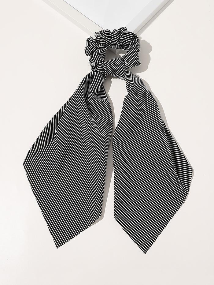Ribbon Striped Print Fabric Scrunchy