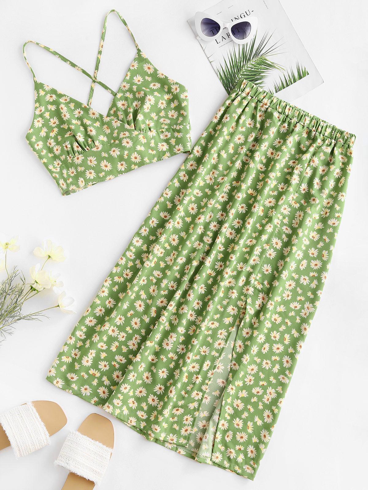 Daisy Print Tie Back Slit Two Piece Dress