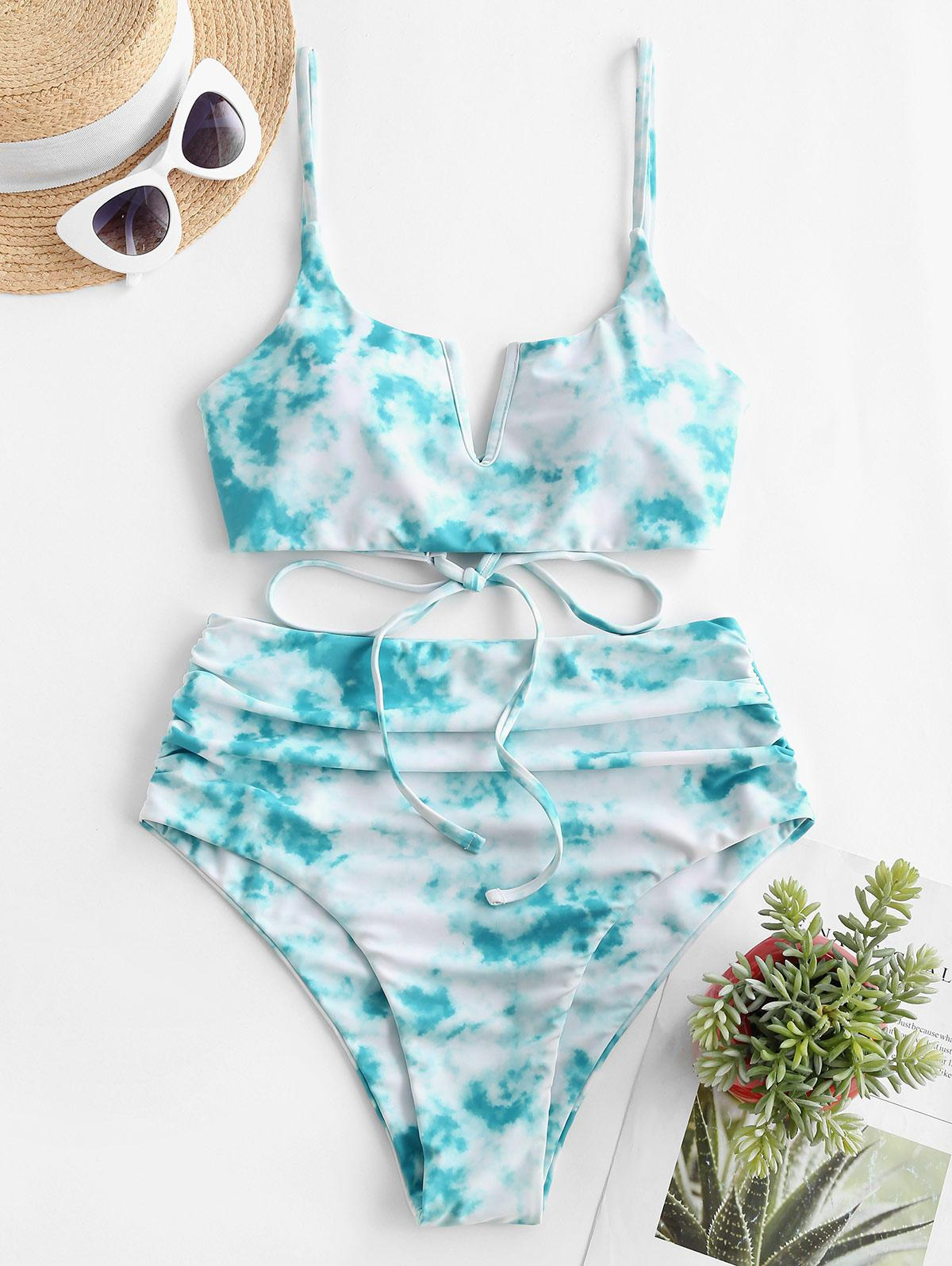 ZAFUL Tie Dye Lace Up High Cut Ruched Tankini Swimwear