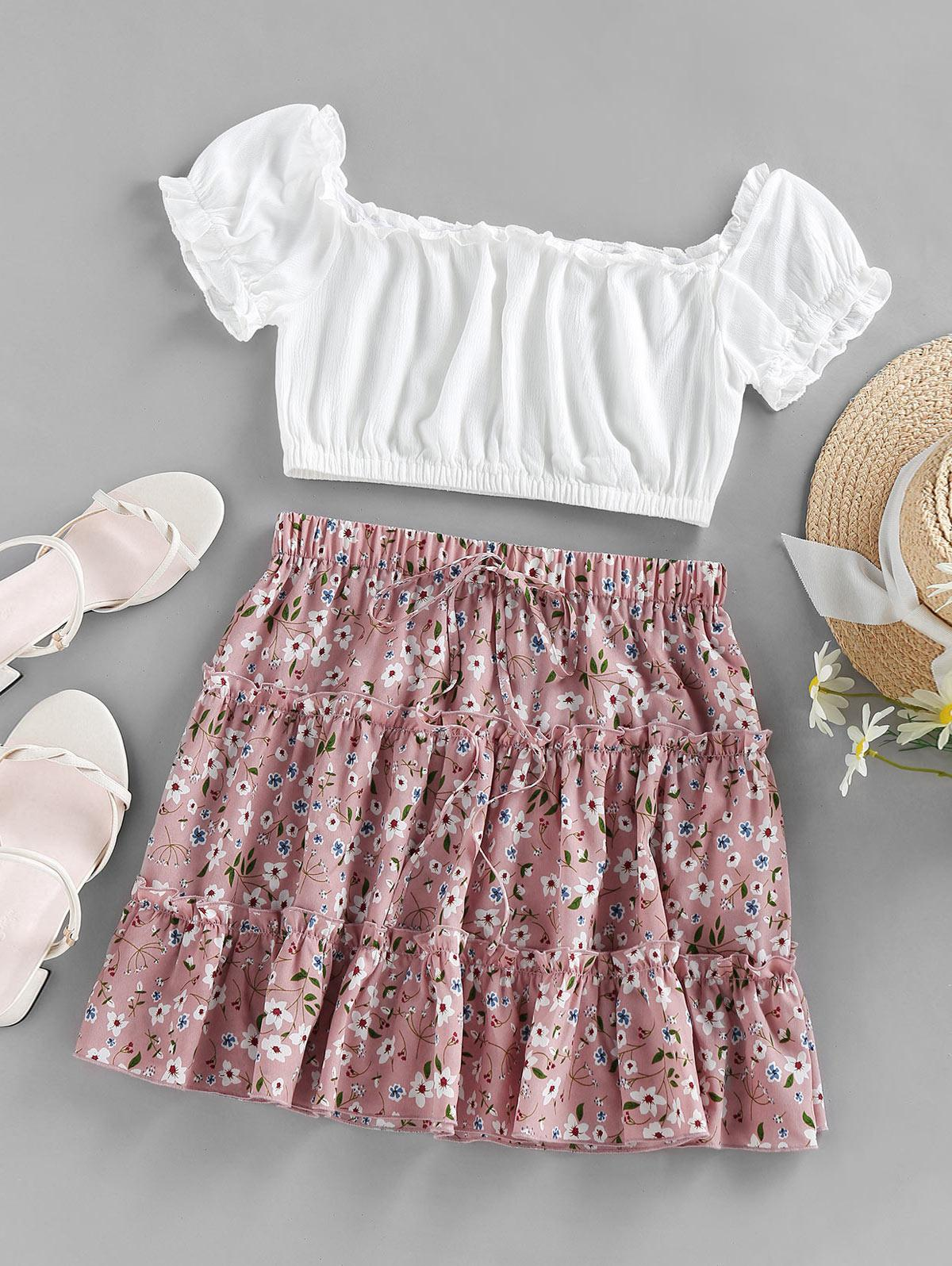 ZAFUL Ditsy Print Bowknot Crinkle Frilled Tiered Skirt Set