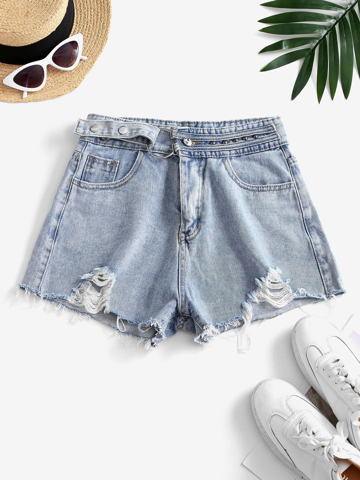 Snap Button Frayed Distressed Cutoff Shorts