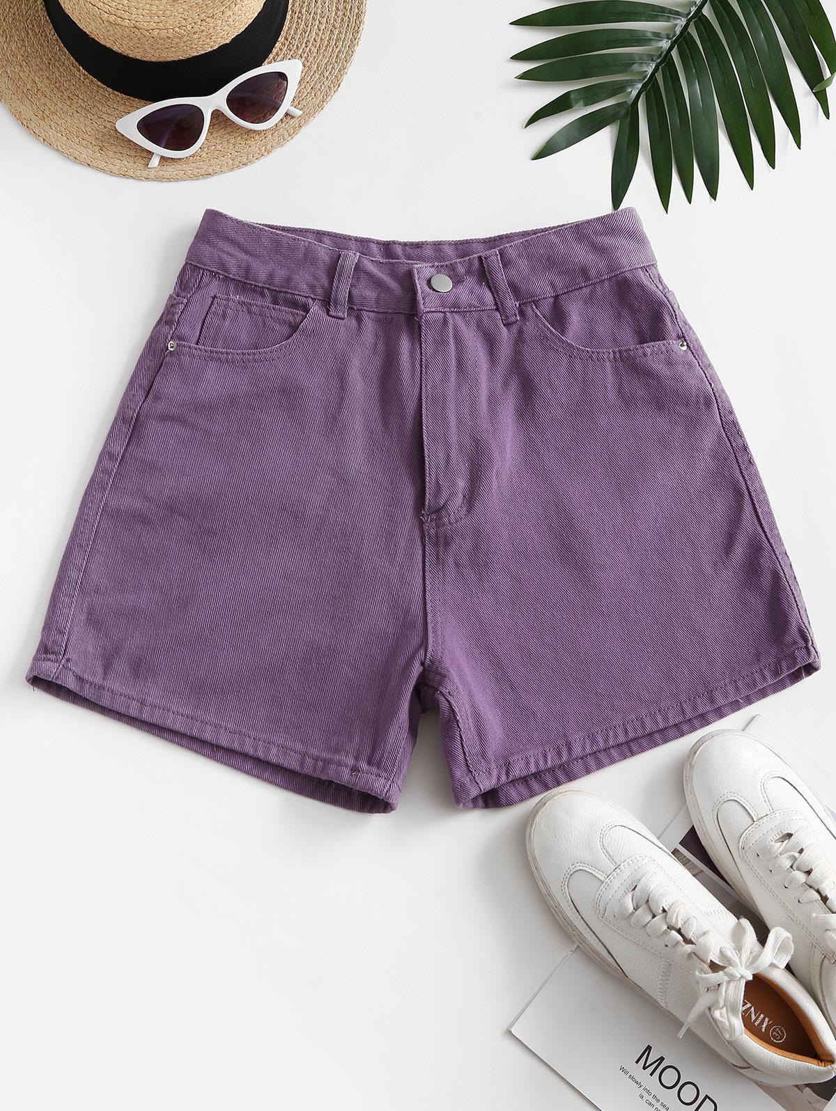 High Waisted Wide Leg Denim Shorts