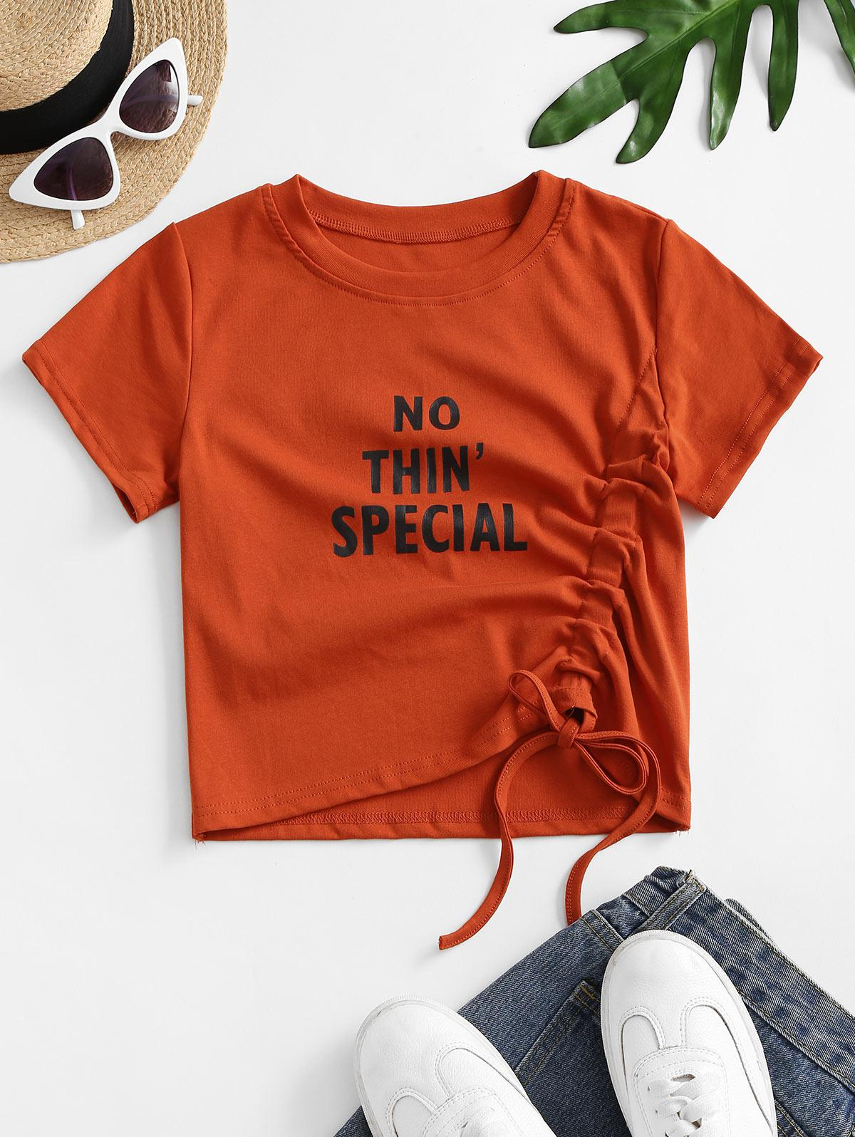 No Thin Special Graphic Cinched Tee