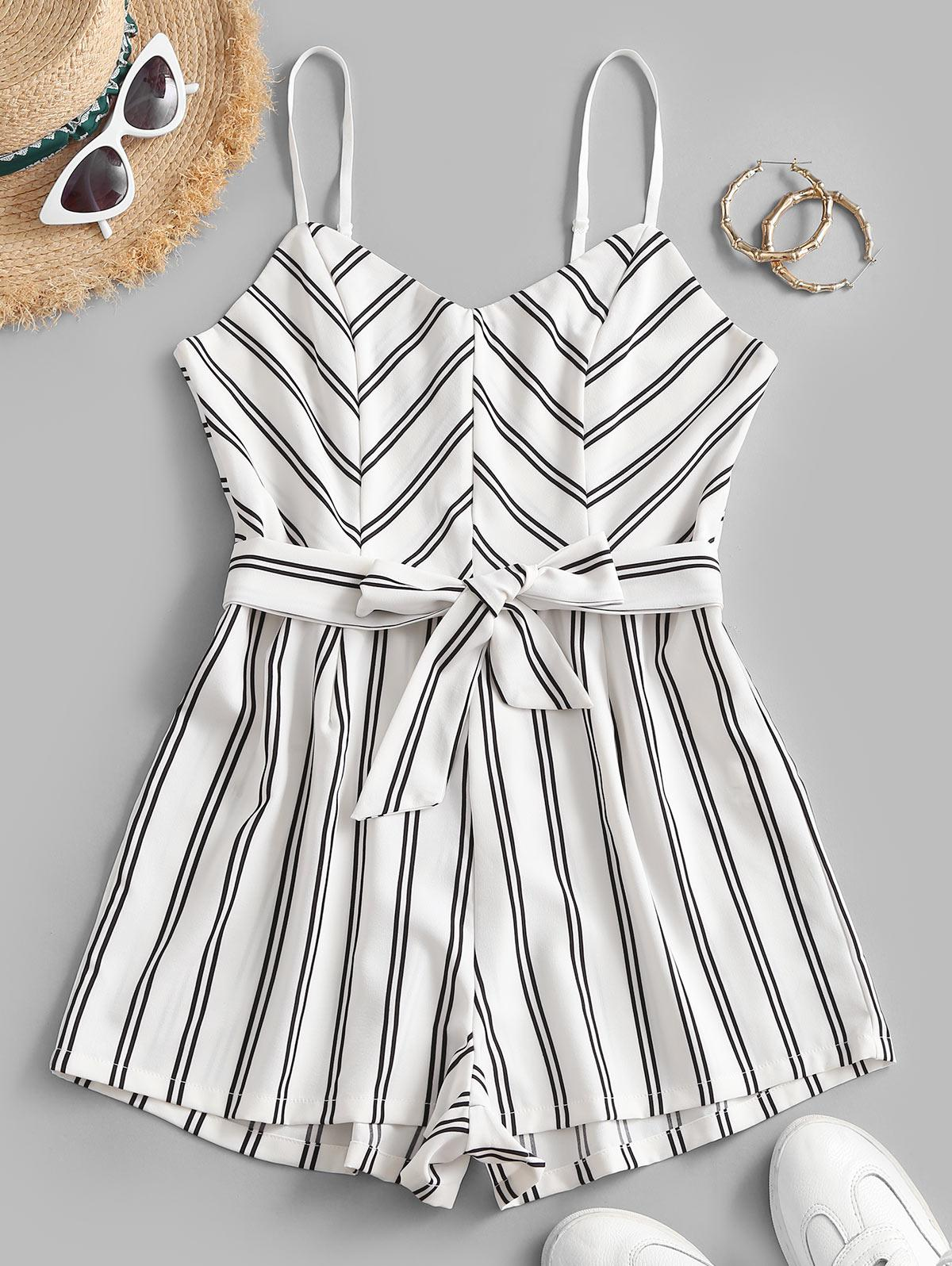 Belted Stripes Cami Romper