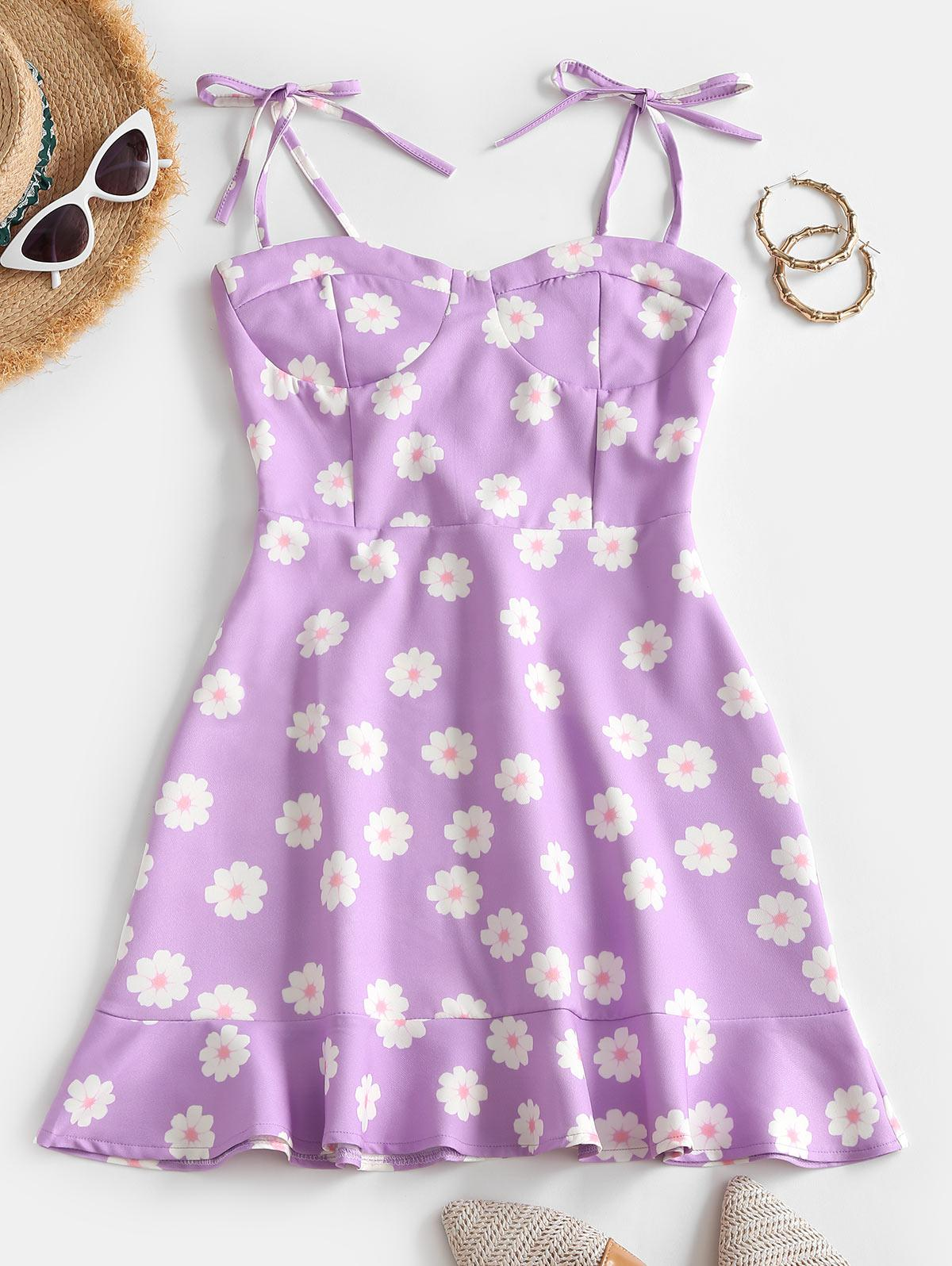 Peplum Hem Tie Shoulder Floral Mini Dress