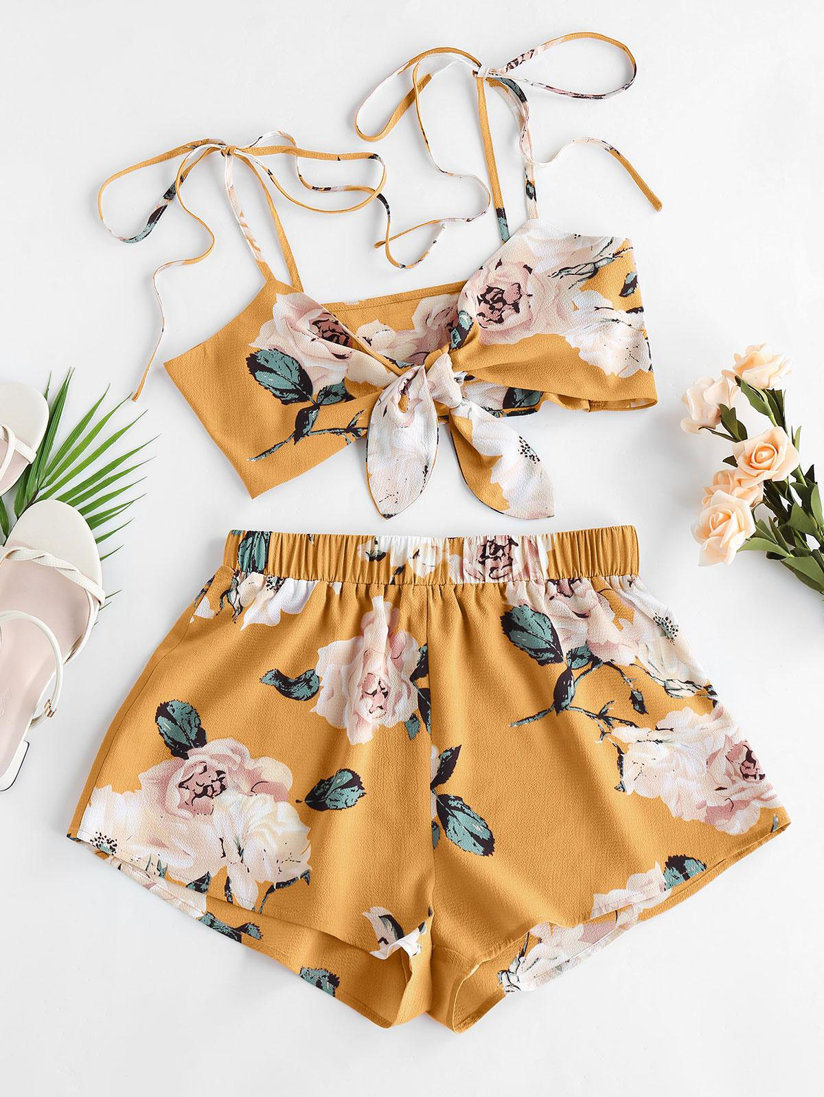 ZAFUL Flower Tie Shoulder Knotted Two Piece Set