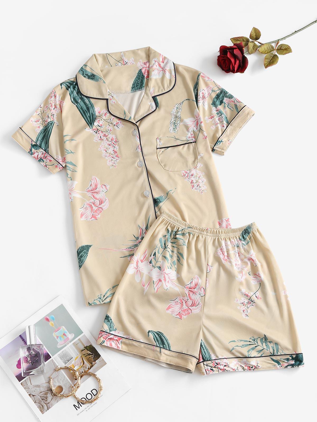 Front Pocket Floral Leaves Print Pajama Set