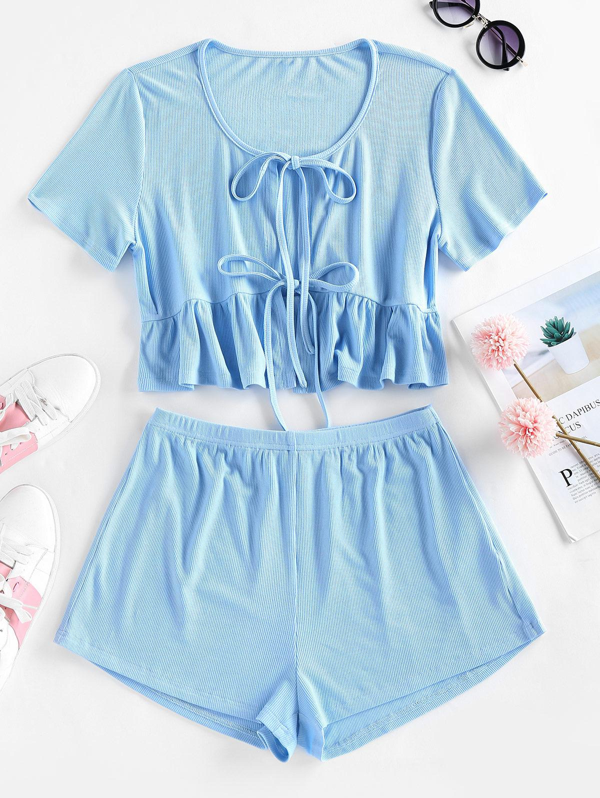 ZAFUL Front Tie Flounced Two Piece Set