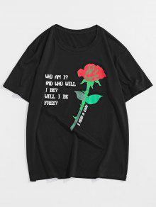 Letter Rose Pattern T shirt