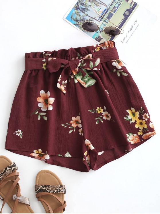 trendy Floral Textured Paperbag Shorts - RED M