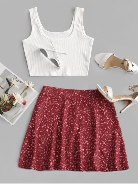 Vestido Ditsy com Nervuras de Duas Peças - Branco XL