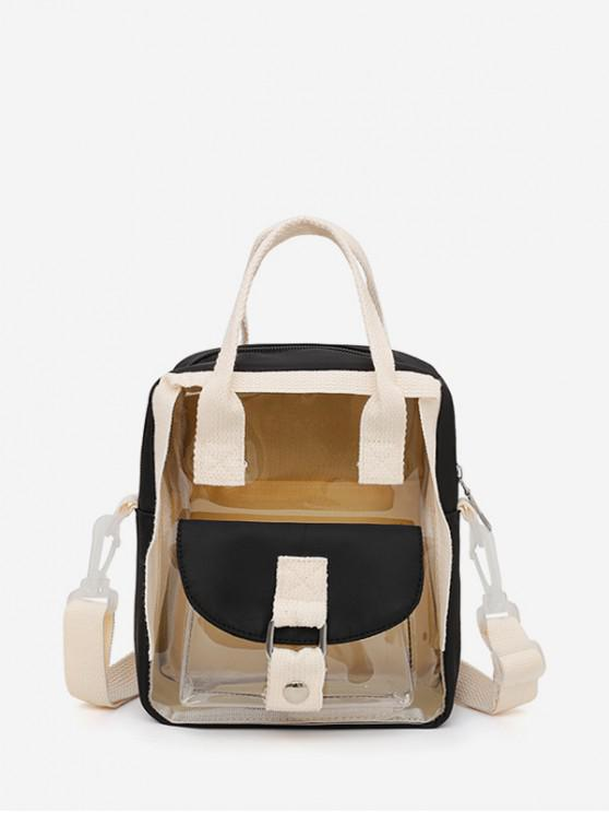 womens Colorblock Transparent Jelly Flap Pocket Mini Backpack - BLACK