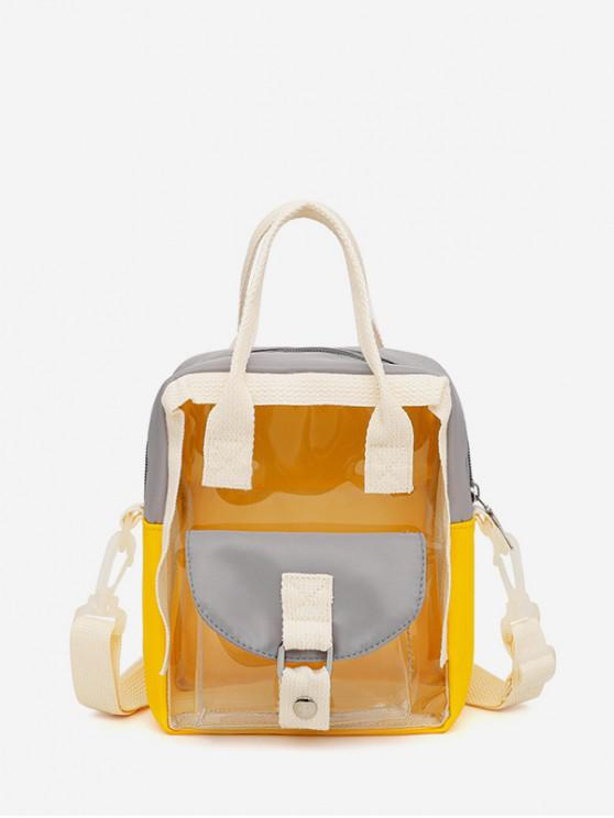 women Colorblock Transparent Jelly Flap Pocket Mini Backpack - YELLOW