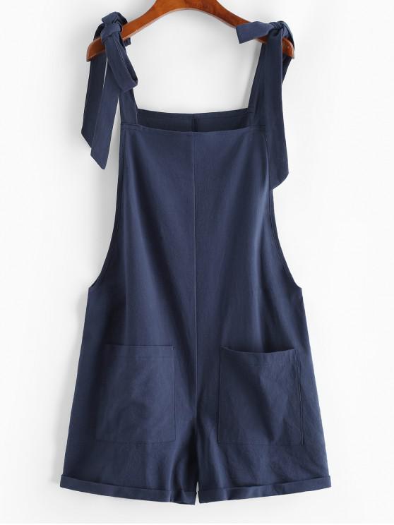 best Tie Front Pocket Cuffed Romper - DEEP BLUE S