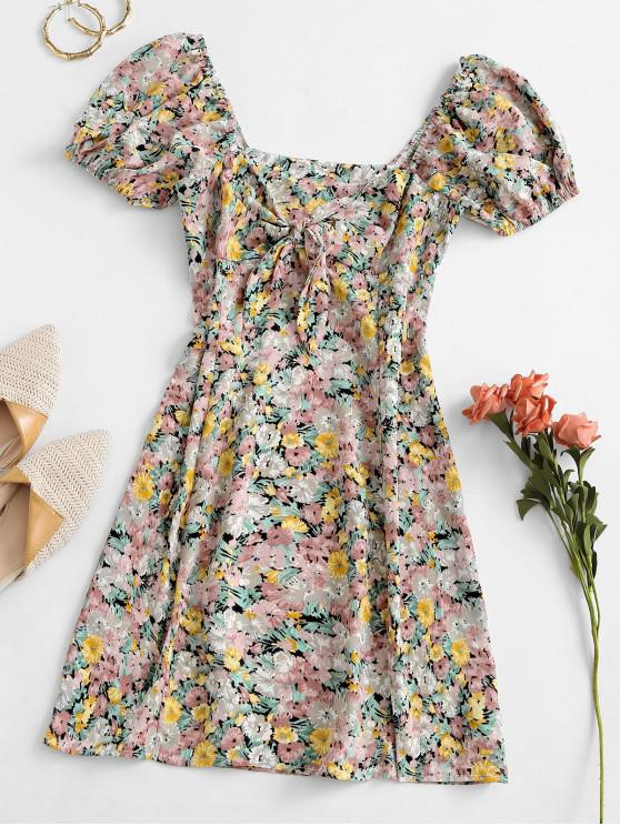 hot Floral Tie Front Puff Sleeve Mini Dress - GREEN M