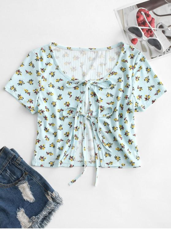 lady Dual Tie Front Ditsy Print Ribbed Top - LIGHT BLUE S