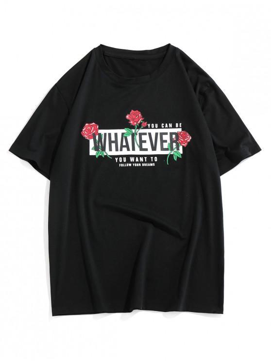 ZAFUL Rose Letter Pattern Short Sleeves T-shirt - أسود S