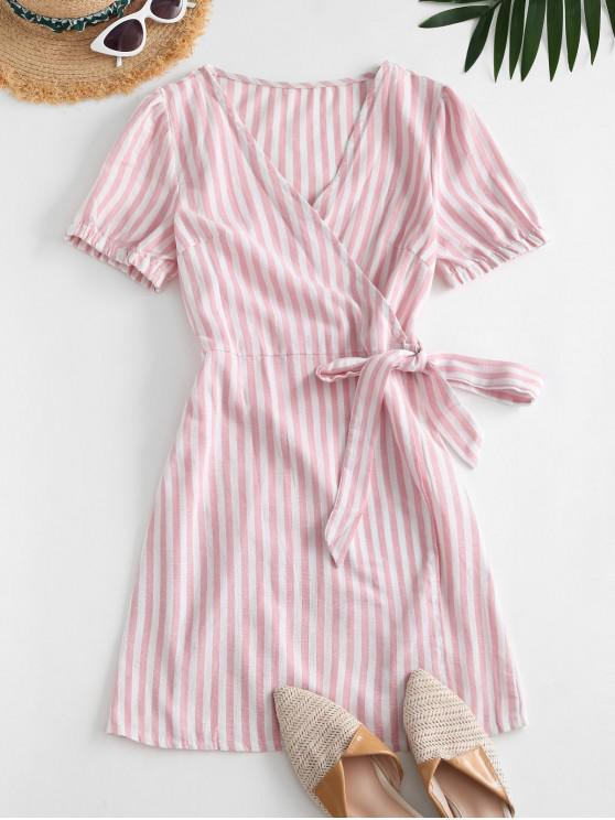 buy Puff Sleeve Stripes Wrap Mini Dress - LIGHT PINK M