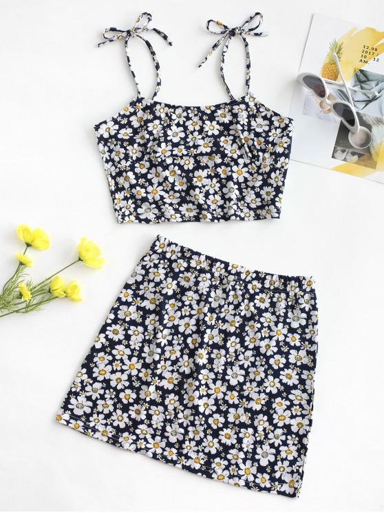latest Tie Floral Two Piece Dress - DEEP BLUE S