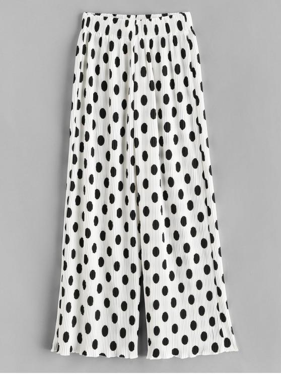 Pantalon Plissé Jambe Large à Pois - Blanc S
