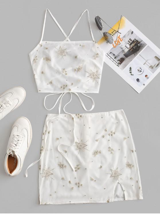 online Metallic Thread Stars Embroidered Mesh Two Piece Dress - WHITE M