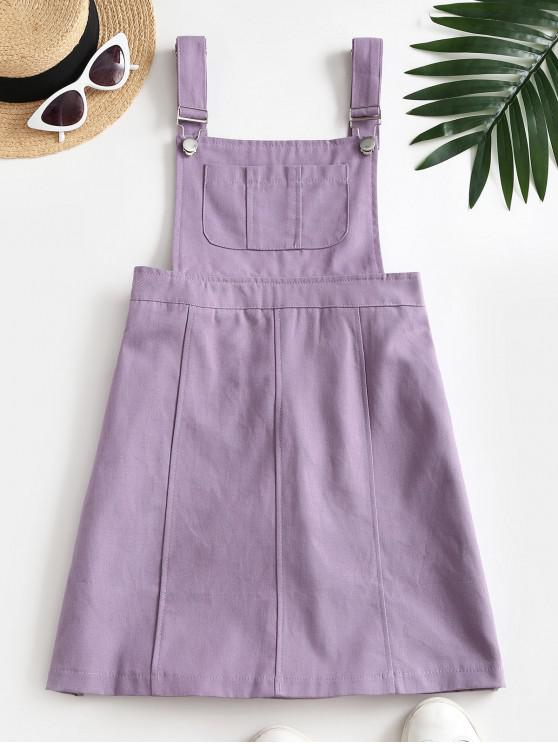 outfit Casual Pockets Overalls Mini Dress - PURPLE S