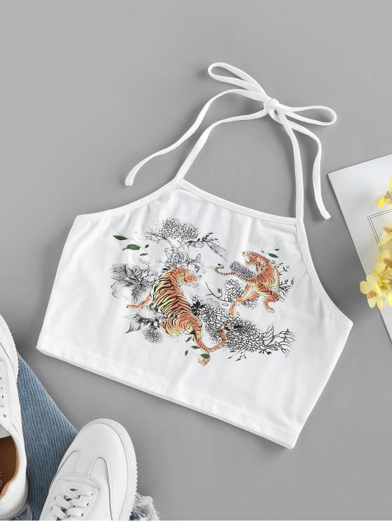 latest ZAFUL Tiger Flower Print Halter Crop Tank Top - WHITE M