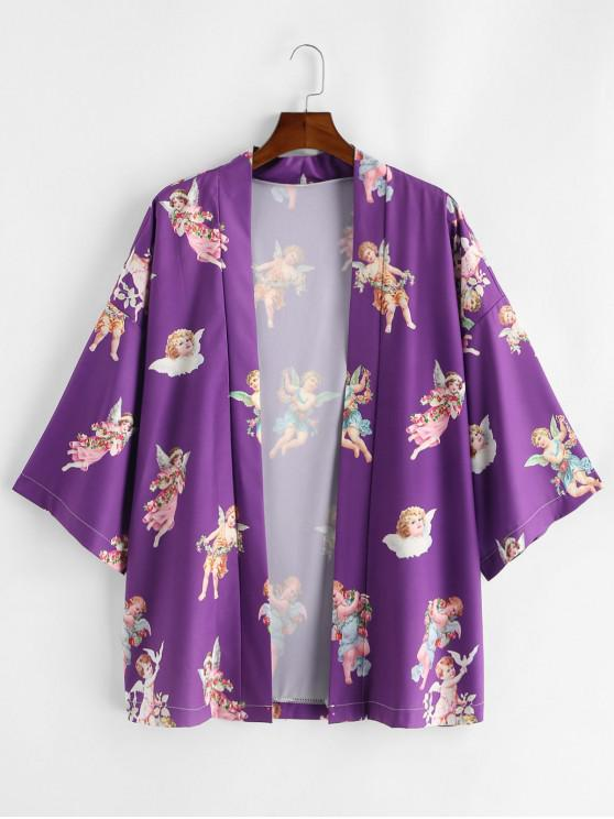 chic Angel Print Open Front Kimono Cardigan - PURPLE S