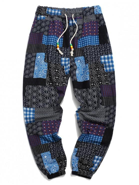 unique Tribal Ditsy Patchwork Print Long Jogger Pants - DEEP BLUE XS