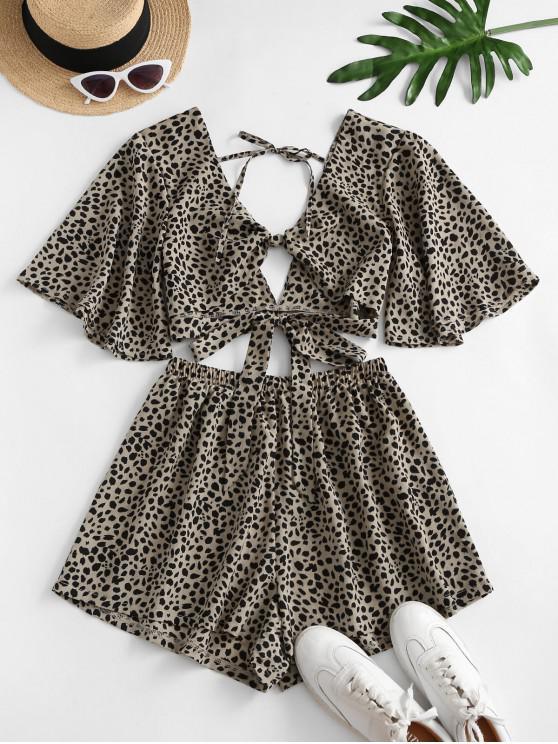 hot Dalmatians Dots Knotted Two Piece Set - LIGHT COFFEE L