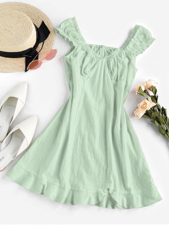 chic ZAFUL Frilled Flounce Mini A Line Dress - LIGHT GREEN S