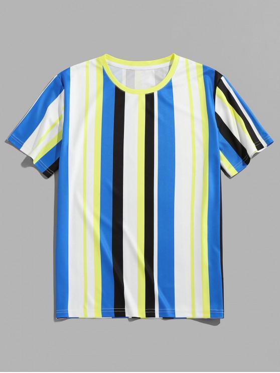 ZAFUL Striped Print Round Neck Casual T-shirt - أبيض 2XL