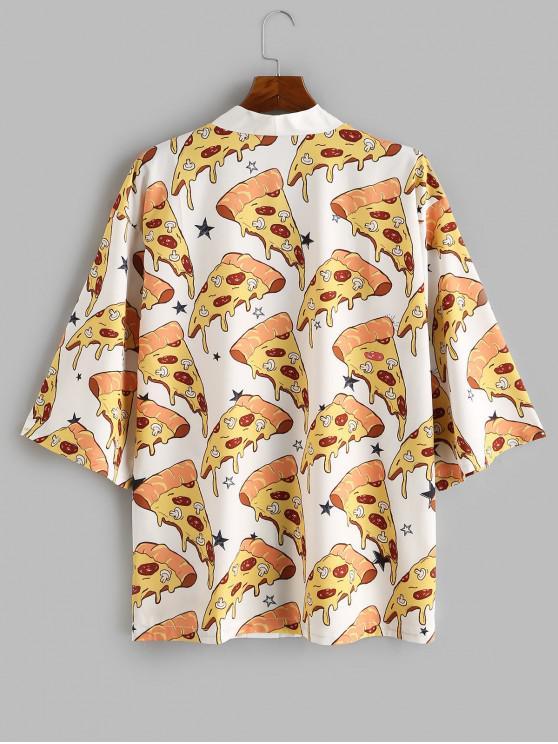 unique Pizza Print Open Front Kimono Cardigan - WHITE S