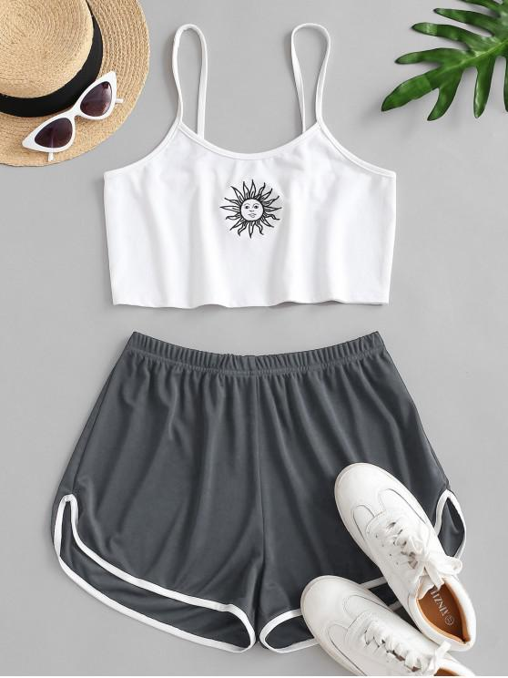 women Sun Embroidered Contrast Piping Two Piece Set - GRAY L
