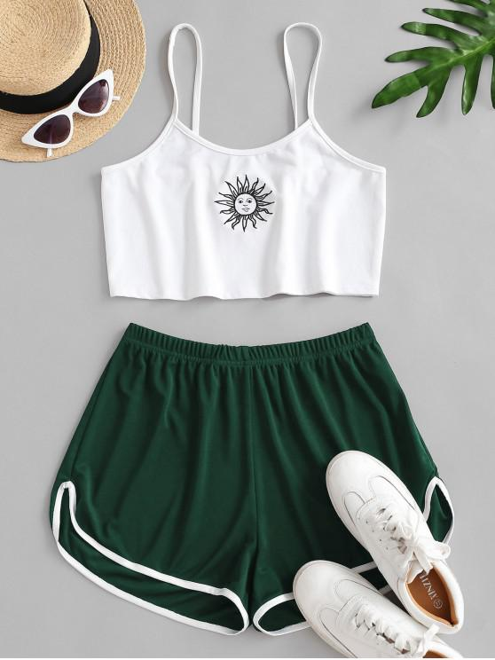 trendy Sun Embroidered Contrast Piping Two Piece Set - DEEP GREEN L