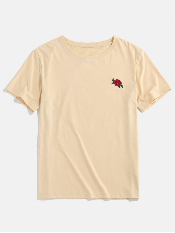 ZAFUL Rose Flower Embroidered Casual T-shirt - القهوة الخفيفة 2XL