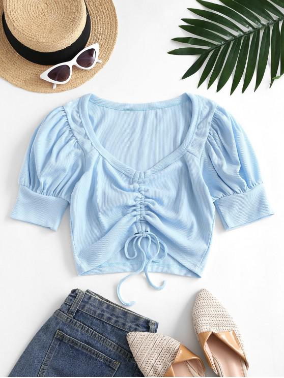Cropped Ribbed Cinched Front Tee - Light Blue S | ZAFUL