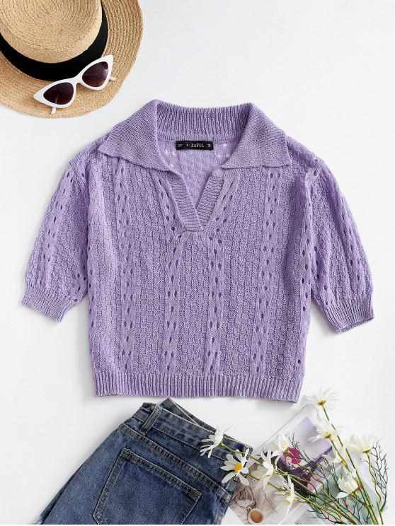 best Solid Cropped Pointelle Knit Tee - LIGHT PURPLE ONE SIZE