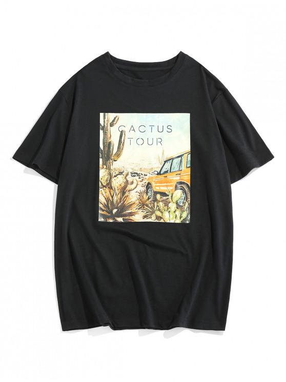 ZAFUL Letter Graphic Print Casual T-shirt - أسود S