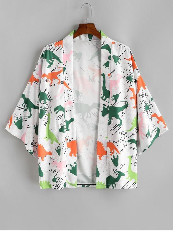 womens Cartoon Dinosaur Print Oriental Kimono Cardigan - MILK WHITE 2XL