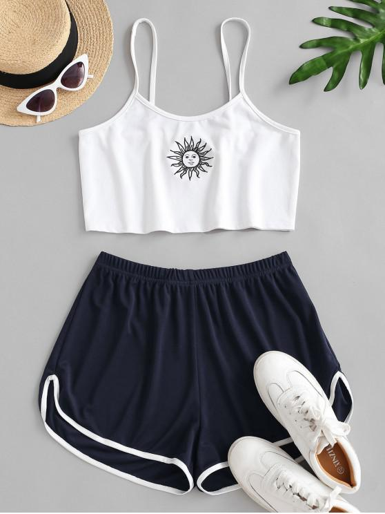 outfit Sun Embroidered Contrast Piping Two Piece Set - DEEP BLUE S