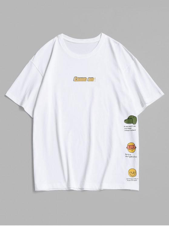Cartoon Graphic Print Slogan T-shirt - أبيض M