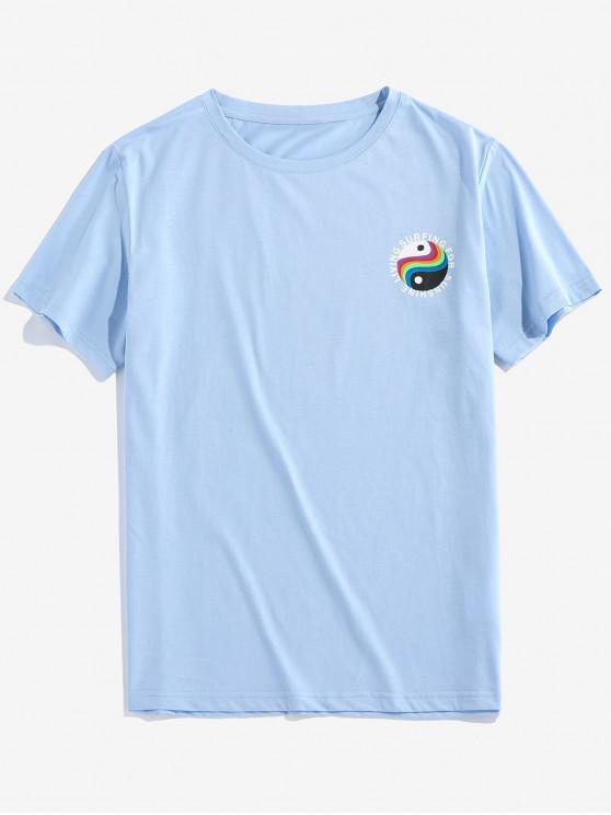 ZAFUL T-shirt Lettre Graphique Imprimée - Bleu clair 2XL