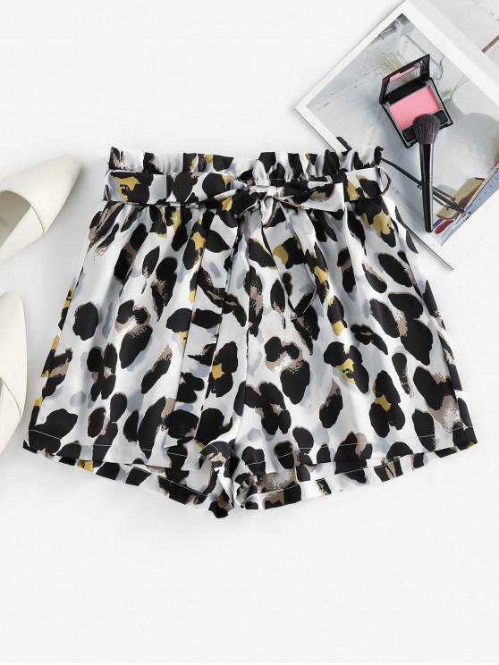 women ZAFUL Belted Leopard Paperbag Shorts - MULTI-C M
