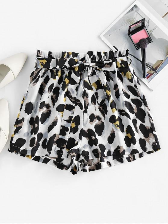 hot ZAFUL Belted Leopard Paperbag Shorts - MULTI-C L