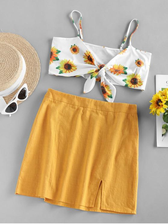trendy ZAFUL Front Tie Sunflower Print Two Piece Dress - YELLOW S