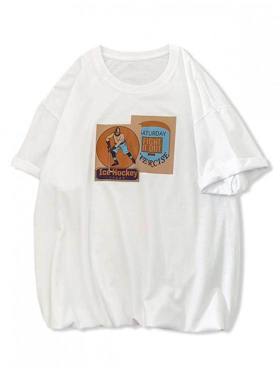 lady Ice Hockey Sport Graphic Print Basic T Shirt - WHITE S
