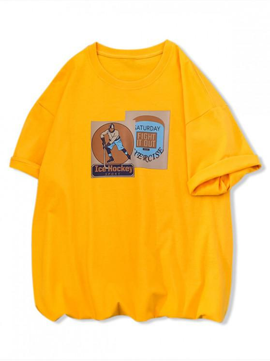 outfit Ice Hockey Sport Graphic Print Basic T Shirt - YELLOW S